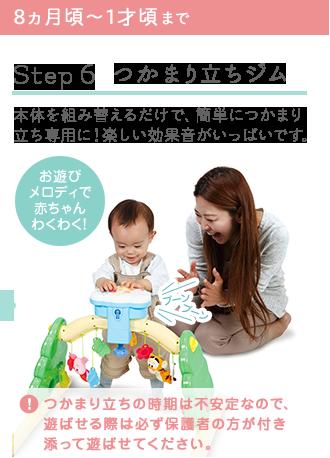 8ヵ月頃~1才頃まで Step 6 つかまり立ちジム 本体を組み替えるだけで、簡単につかまり立ち専用に!楽しい効果音がいっぱいです。
