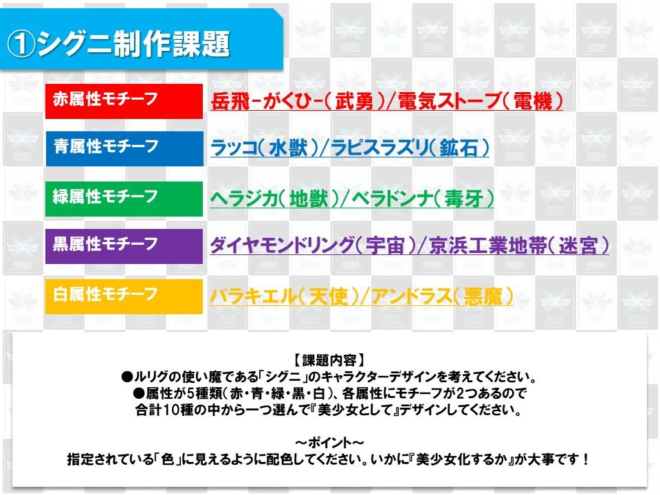 日本工学院×WIXOSS 課題内容シグニ