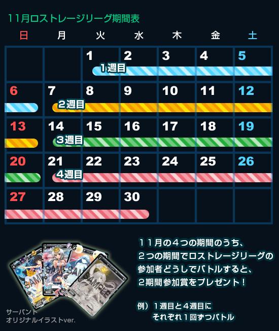 11月特殊イベント Lostorage League 期間表