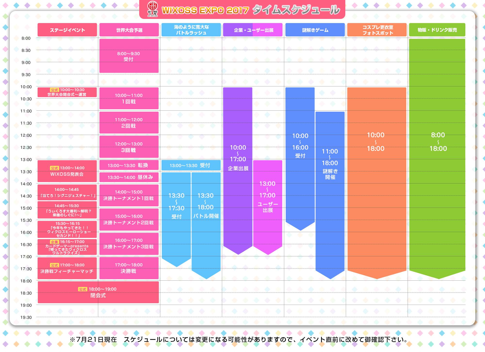 「WIXOSS EXPO」タイムスケジュール